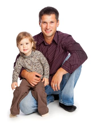 Father and  daughter. Isolated on whita background Stock Photo - 5462891