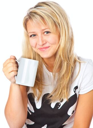Tennage girl with cup. Isolated on white background photo