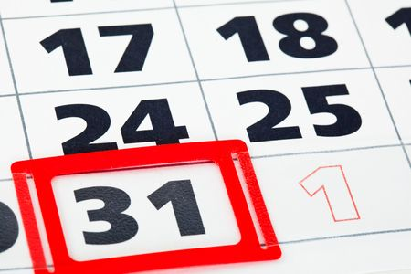 up date: Close up of calendar with date of 31 Stock Photo