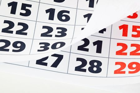 almanacs: Close up of calendar with wrapped page Stock Photo