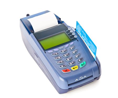Blue payment machine. Isolated on white background photo