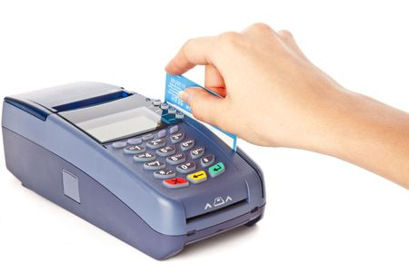 Paying with credit card. Isolated on white background photo