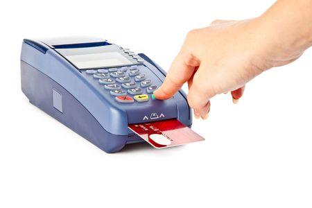 chip: Pagar con tarjeta de cr�dito. Aislado en fondo blanco
