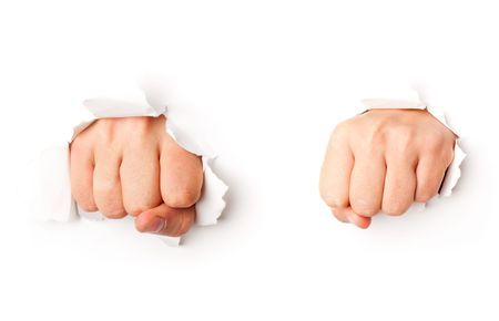 inconvenience: Two fists from paper. Isolated on white background Stock Photo