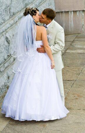 Bride in white dress and bridegroom Stock Photo - 5908010
