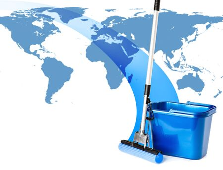 broom handle: Mop and bucket and map of world. Isolated on white background