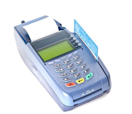 cr�dito: Pagar con tarjeta de cr�dito. Aislados en fondo blanco  Foto de archivo