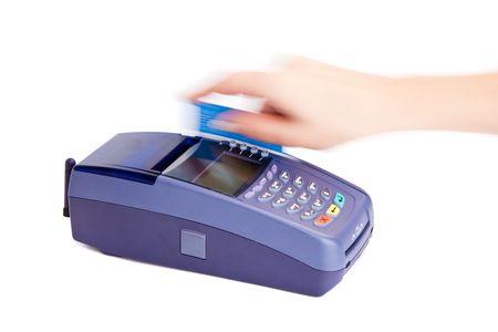 Betalen met credit card. Geïsoleerd op witte achtergrond  Stockfoto