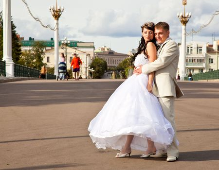Bride in white dress and bridegroom Stock Photo - 5883980