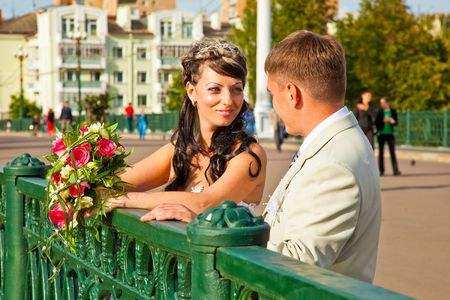 Bride in white dress and bridegroom Stock Photo - 5884150