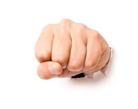 inconvenience: Fist from paper. Isolated on white background Stock Photo