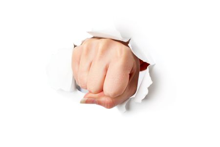 Fist from paper. Isolated on white background photo