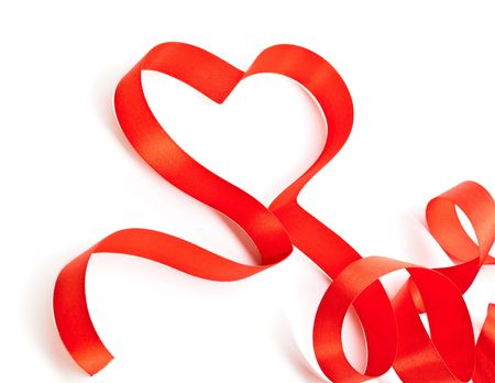 Lovely red ribbon. Isolated on white background Stock Photo - 5884050