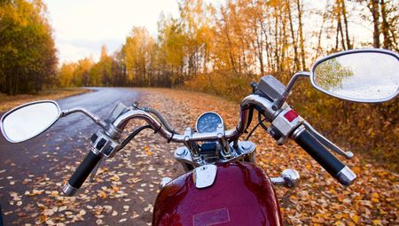 autumn road: Close-up of motorcycle on road in autumn