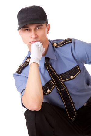 Policeman. Isolated on a white background photo