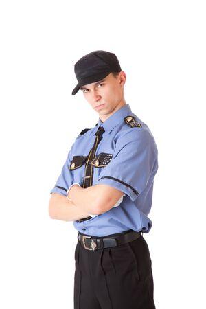 sicurezza sul lavoro: Poliziotto. Isolato su uno sfondo bianco