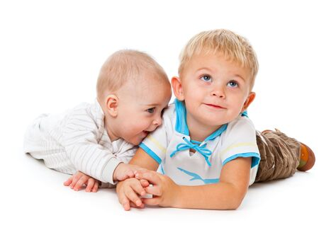 Two brothers. Isolated on the white background Stock Photo - 5968997