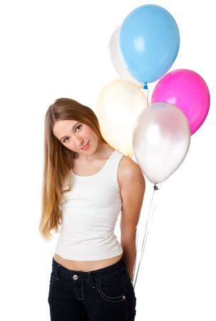 Girl with ballons. Isolated on white background Stock Photo - 6162494