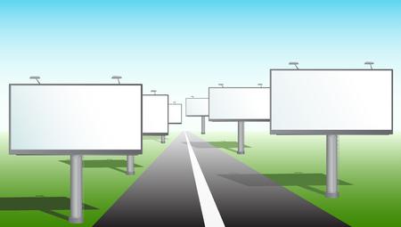 Een reclame borden in de buurt van een weg. Vector illustratie