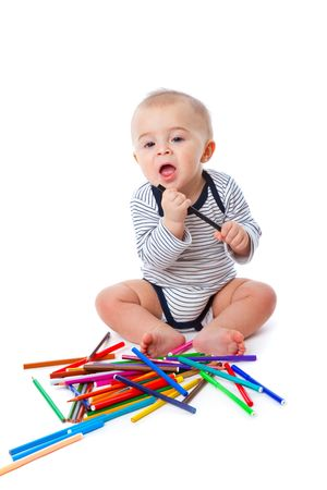 Baby with pencils. Isolated on white background Stock Photo - 6462598