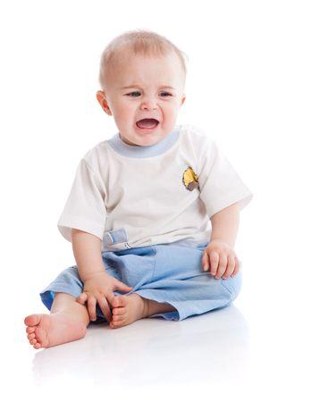 baby huilen: Dringend baby. Geïsoleerd op de witte achtergrond Stockfoto