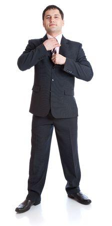 straighten: Businesman straighten ones tie