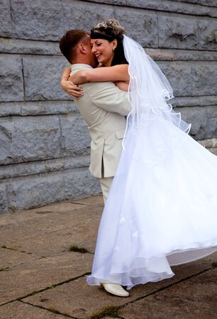 Bride in white dress and bridegroom Stock Photo - 6491920