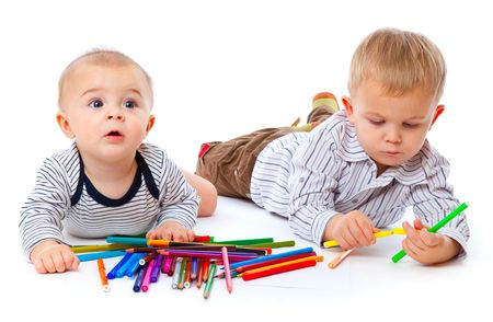 Tho brothers with pencils. Isolated on the white background photo