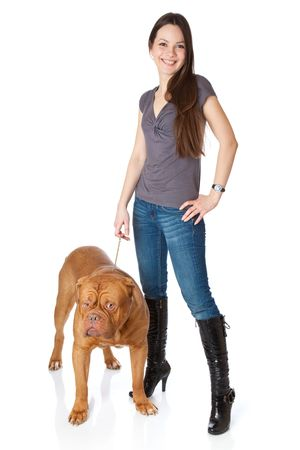 Young girl with  Dogue de Bordeaux (French mastiff). Isolated on white background photo