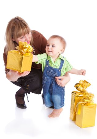 Mother and little boy with gifts. Isolated on white background Stock Photo - 6756350