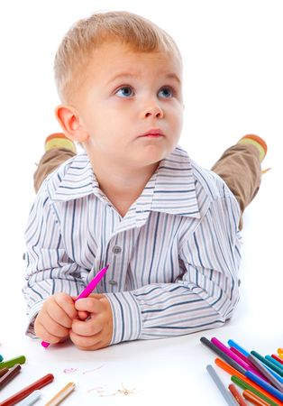 Child with pencils. Isolated on the white background photo
