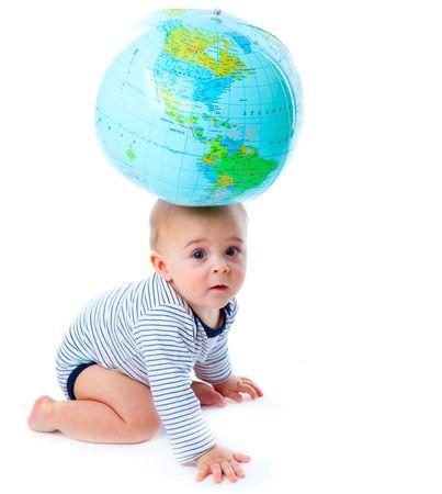 Baby and globe. Isolated on white background photo