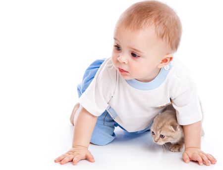 Baby with kitten. Isolated on white background Stock Photo - 6865936