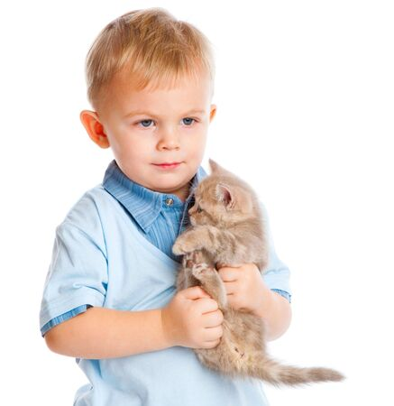 child with kitten. Isolated on white background photo