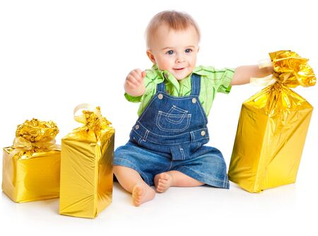baby xmas: Baby with gifts. Isolated on white background