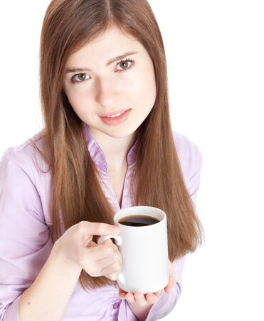 Young girl with mug with coffee. Isolated on white background Stock Photo - 6866006