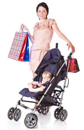 Young mother with baby in perambulator. Isolated on white background Stock Photo - 7218640