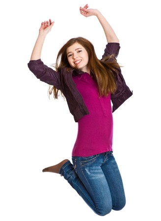 teenage girls: Teenage girl is jumping. Isolated on white background