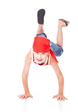 whie: Little boy in dance. Isolated on whie background
