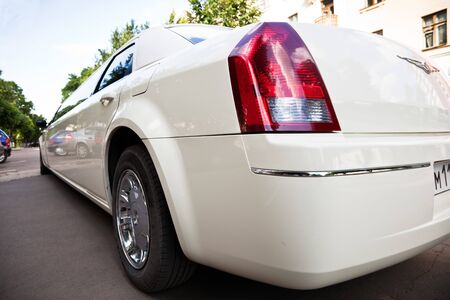 White stretch limousine photo