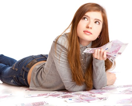 euro notes: Girl with money. Isolated on white background