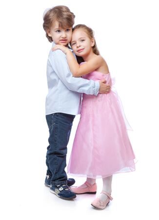 little boy and girl: Little boy and girl in love. Isolated on white background