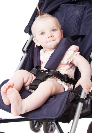 perambulator: Portrait of baby in perambulator