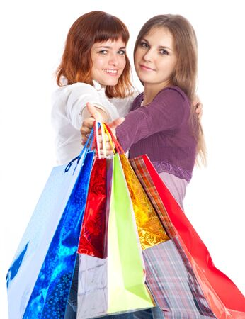 Two teen girls with bags. Isolated on white background Stock Photo - 7823453