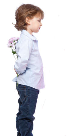 sidewards: a boy with a bunch of flowers. isolated on a white background