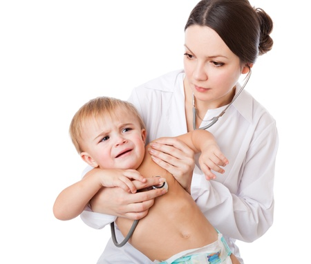 a doctor is examining a little crying patient. isolated on a white background
