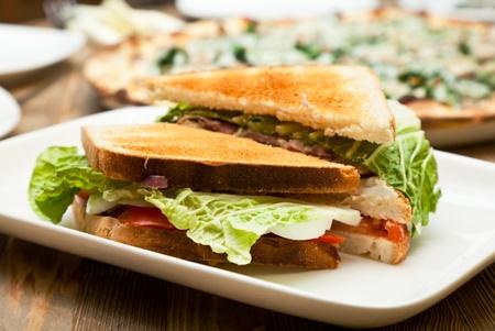 Une plaque blanche avec le sandwich Banque d'images - 9593793