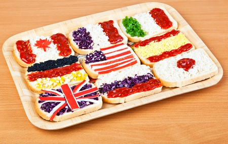 russian food: Sandwiches with flags of different countries Stock Photo