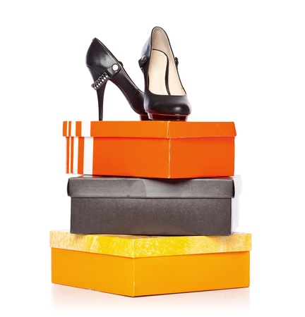 fashion shoes on the boxes. isolated on a white background Standard-Bild