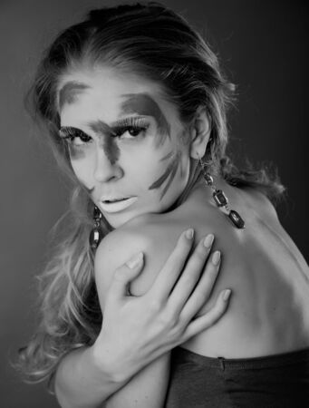 A woman with unusual make-up. Black and white Stock Photo - 11269896